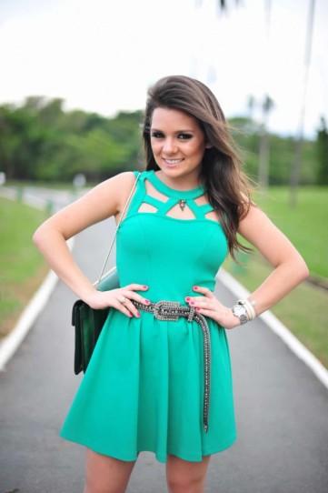 look verde, vestido