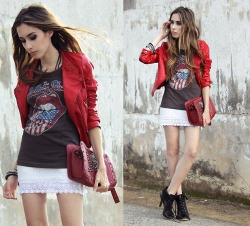 look vermelho, jaqueta
